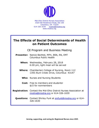 The Effects of Social Determinants of Health on Patient Outcomes